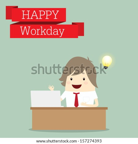 businessman is happy at the monday after relax time, business concept - stock vector
