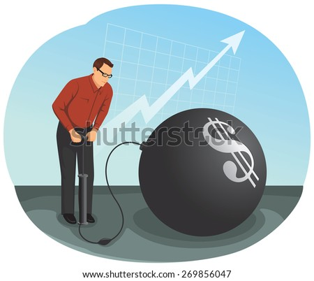 Businessman is inflating a big bubble with the money symbol. Financial Crisis Concept. - stock vector