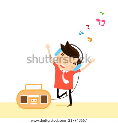 Businessman is listening music and dancing ,vector,illustration. - stock vector