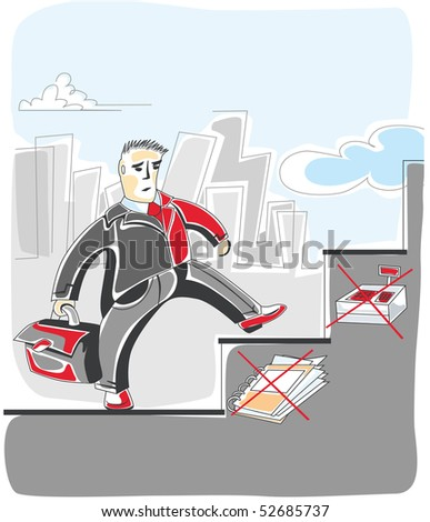businessman is on the stairs - stock vector