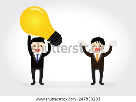 Businessman is plagiarizing idea to work and someone was angry - stock vector