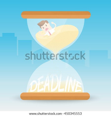 businessman is sinking like quicksand  in the hourglass. employee work under pressure and meet tight deadlines - stock vector