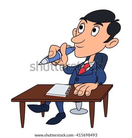 Businessman is thinking 2 - stock vector
