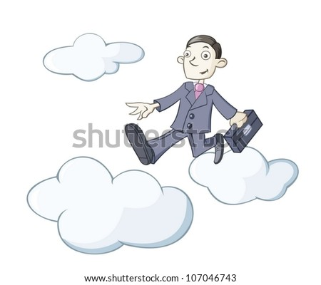 businessman is walking on clouds - stock vector