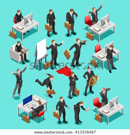 Businessman isometric people finance set. Business meeting characters infographic icons. Flat 3D isolated businessman meeting Icon. Finance Concept Business People Image Vector Illustration. - stock vector