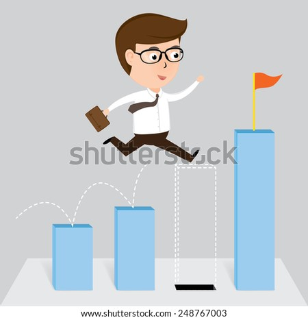 Businessman jump off falling down chart, vector illustration - stock vector