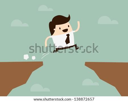 businessman jump through the gap - stock vector