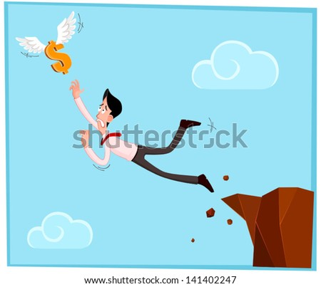 businessman jumping out from the cliff chasing a dollar - stock vector