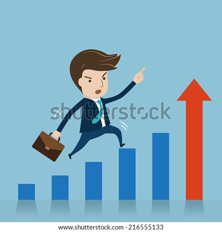 Businessman jumping over growing chart. cartoon vector for growing business concept. - stock vector