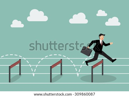 Businessman jumping over hurdle. Business concept - stock vector