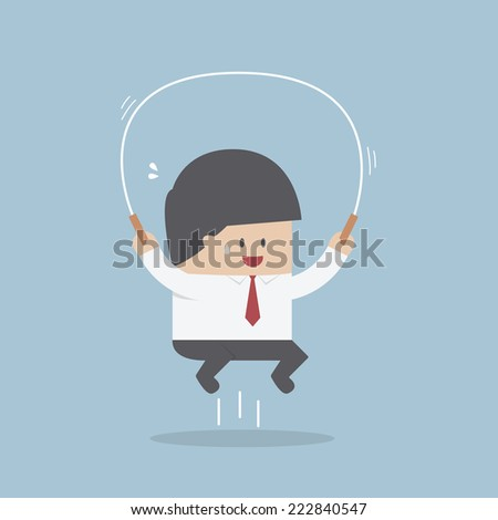 Businessman jumping rope, Business training concept, VECTOR, EPS10 - stock vector
