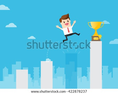 businessman jumping through gap bar like crisis to get golden trophy in charts in cityscape - stock vector