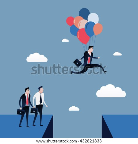Businessman jumping to the blue sky with balloons. Business concept illustration vector - stock vector