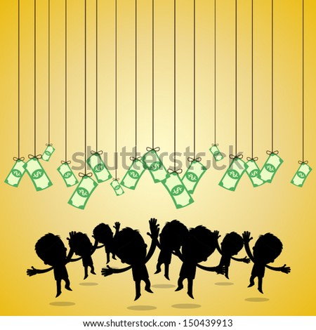 businessman jumping to the money - stock vector