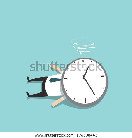 Businessman killed by time - stock vector