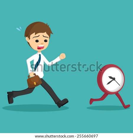 Businessman Late Go to Work And Running With Clock or Time - stock vector