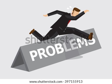 Businessman leaps and jumps over hurdle with word Problems on it. Creative vector illustration on metaphor for overcoming challenges and adversity at work isolated on plain background. - stock vector