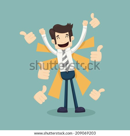 Businessman like, thumbs up  , eps10 vector format - stock vector