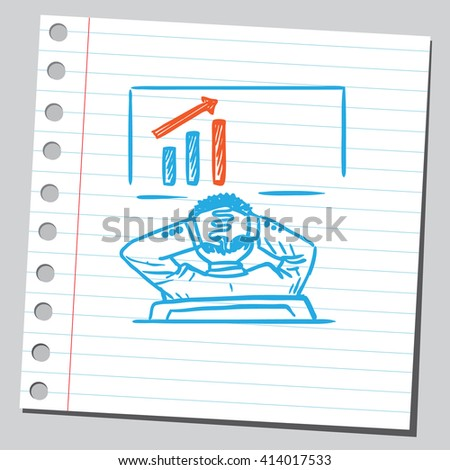 Businessman looking at business chart - stock vector
