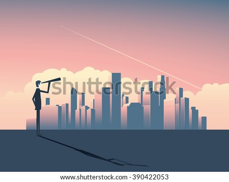 Businessman looking at cityscape with skyscrapers. Business concept of vision, strategy and goals. Eps10 vector illustration. - stock vector