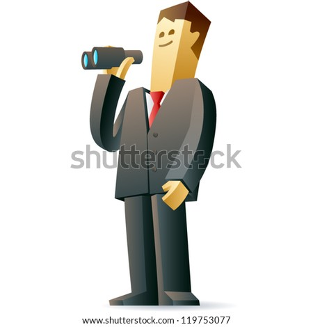 Businessman looking at future. Vector illustration of a businessman looks ahead - stock vector
