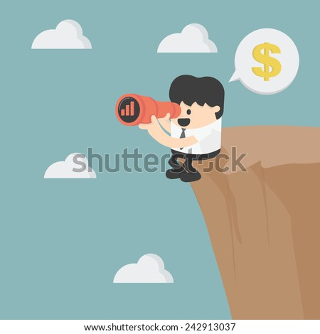 businessman looking on cliff  - stock vector