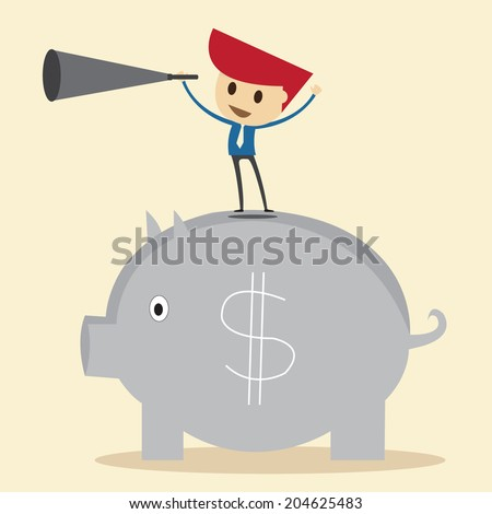Businessman looking the future - stock vector