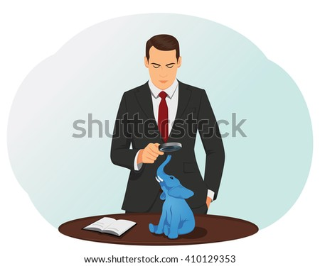 Businessman looking through a magnifying glass at the elephant on a desk. Understated revenue and overstated expenses. - stock vector