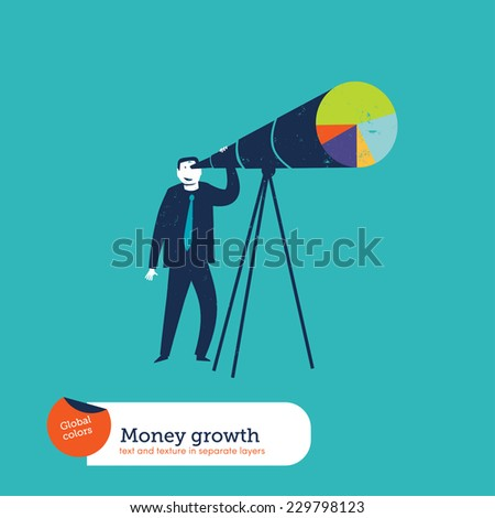 Businessman looking through a telescope chart. Vector illustration Eps10 file. Global colors. Text and Texture in separate layers. - stock vector