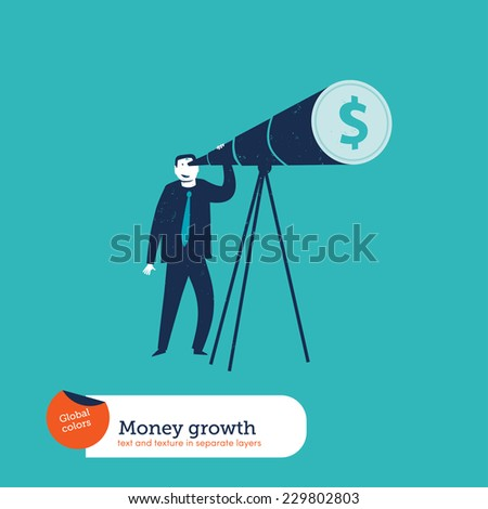 Businessman looking through a telescope dollar. Global colors. Text and Texture in separate layers. Vector illustration Eps10 file. Global colors. Text and Texture in separate layers. - stock vector