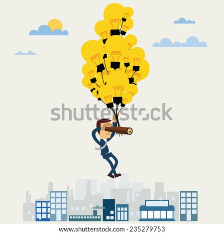 Businessman looking to the future and hang balloon lamp. - stock vector