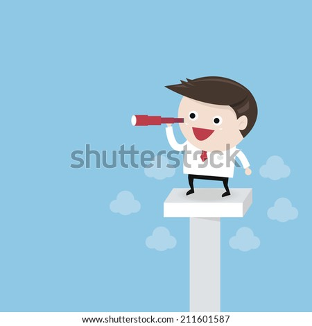 Businessman looking to the view with telescope, goal concept, flat design - stock vector