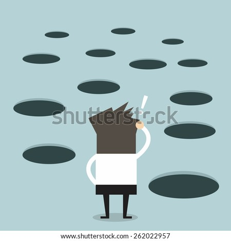 Businessman looks at hole on the ground  - stock vector