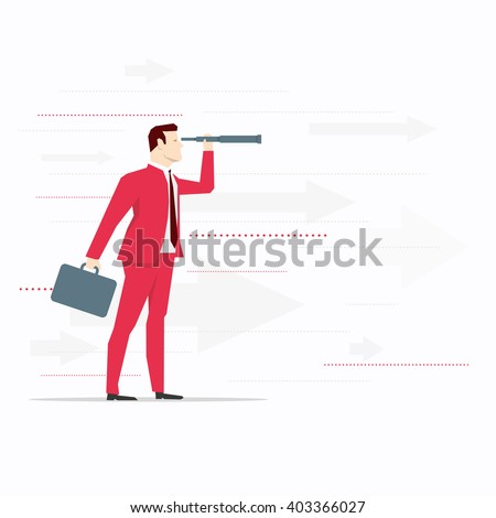 Businessman looks through a telescope. Vector business concept illustration. - stock vector