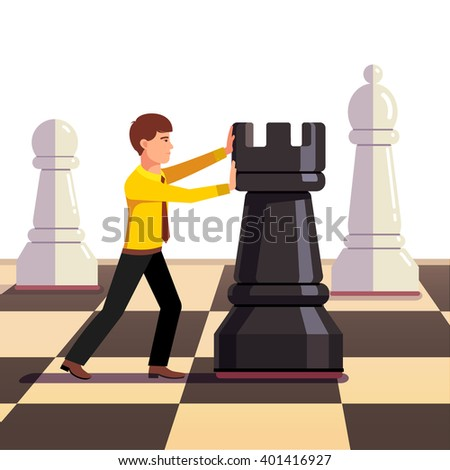 Businessman making his move on a business chessboard. Flat style vector illustration. - stock vector