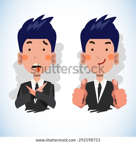 businessman making stop sign and show thumbs up in different situation. positive and negative feedback concept. - vector illustration - stock vector