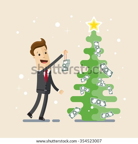Businessman, manager, employee. A man in a suit decorates a Christmas tree with money. Vector EPS10. - stock vector