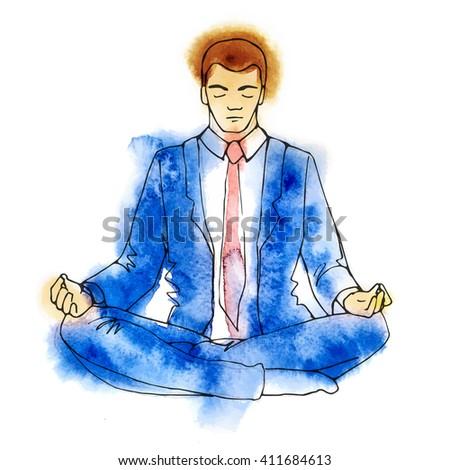 Businessman meditating, watercolor vector illustration, business man meditation in lotus - stock vector
