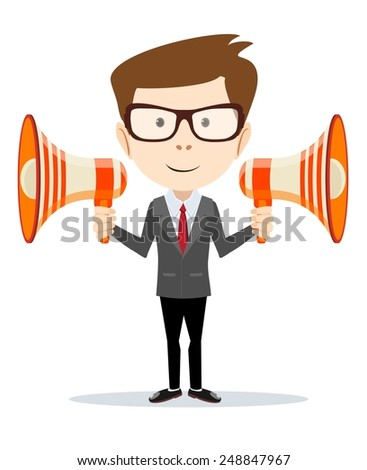 Businessman, messenger, negotiator-Funny office worker with a loudspeaker horn on the white background for use in presentations. Stock Vector illustration - stock vector