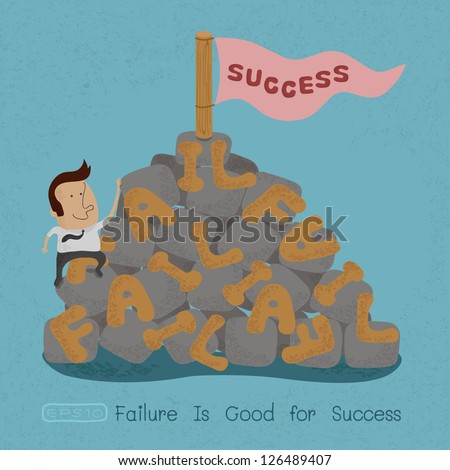 Businessman moving over the Failure go to success , symbolizing the overcoming of an obstacle and achieving your goals  , eps10 vector format - stock vector