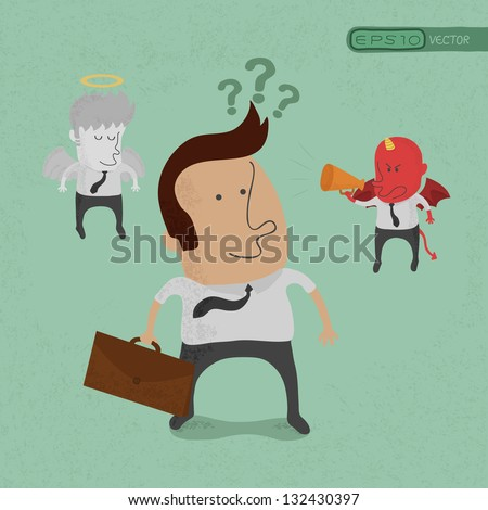 Businessman must choose between the devil or angel , eps10 vector format - stock vector