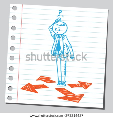 Businessman need to make a choice - stock vector