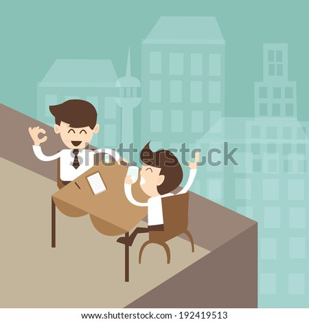 businessman negotiation rooftop of the hotel - stock vector