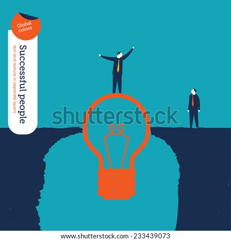 Businessman on a bulb helping a man to cross an abyss. Vector illustration Eps10 file. Global colors. Text and Texture in separate layers. - stock vector