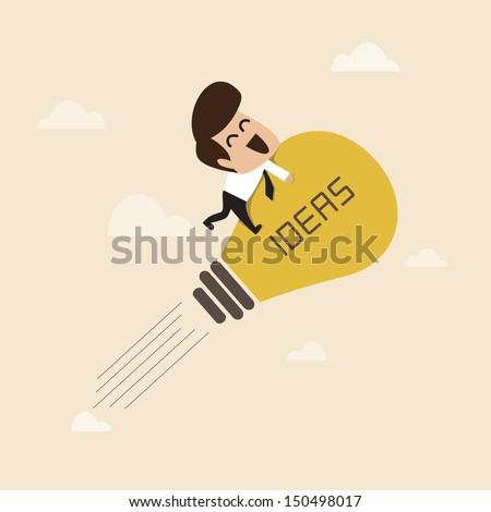 Businessman on a moving lightbulb idea rocket - stock vector