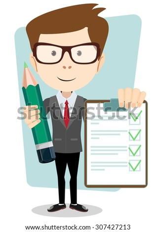 Businessman on a white background with pencil and ticks.Young pretty man. Vector - stock vector