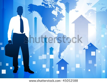 Businessman on Blue Arrow Background with World Map Original Vector Illustration EPS10 - stock vector