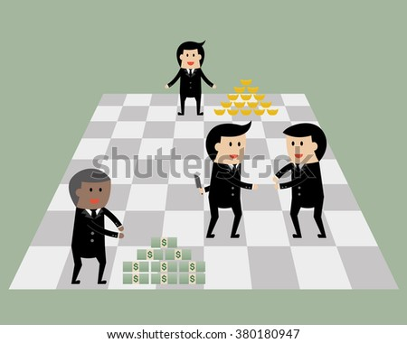 Businessman on chess game with money and gold. Business game concept. - stock vector