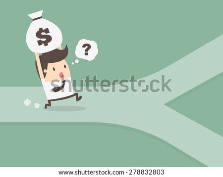 businessman on crossroad. personal financial concept - stock vector