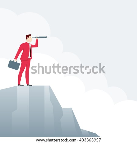 Businessman on peak, looks through a telescope. Vector business concept illustration. - stock vector